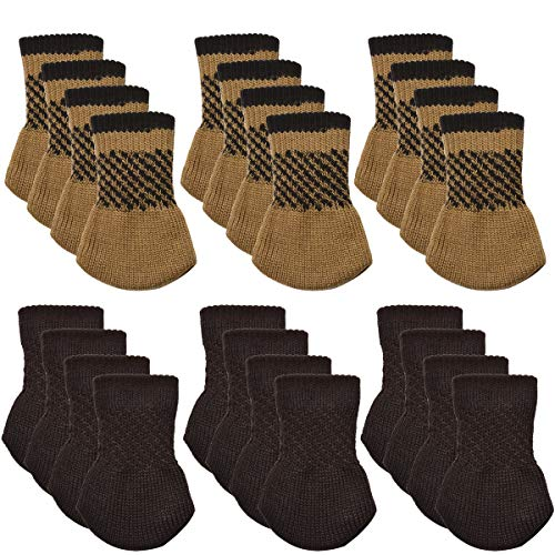 Furniture Socks, Outgeek 24 Pack Knitted Furniture Feet Socks Chair Leg Floor Protectors (Brown and Coffee) ()