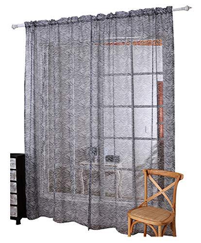 Aside Bside Sheer Curtains Rod Pocket Top Vintage Zebra Stripe Print Voile Transparent Window Treatments Panels for Living Room & Bedroom(1 Panel, W 50 x L 72 inch, ()
