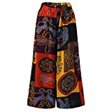 Kirbyates Pants Womens Fashion Plus Size High-Waist Casual Print Wide Leg Sweatpants Yoga Trousers Pockets Orange
