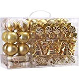 Sea Team 73-Pack Assorted Shatterproof Christmas Balls Christmas Ornaments Set Decorative Baubles Pendants with Reusable Hand-held Gift Package for Xmas Tree (Gold)