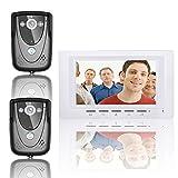 HITSAN ENNIO SY817FCB21 7 Inch Video Door Phone Doorbell Intercom Kit 2 Cameras 1 Monitor Night Vision One Piece