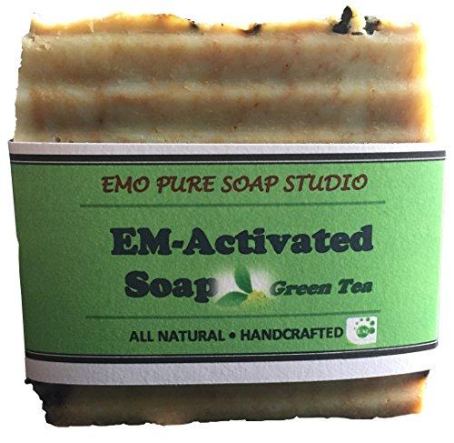 Green Tea EM Natural Soap Bar 100% Organic.With Activated EM, Coconut, Olive, Lavender Essential Oil. Face Soap or Body Soap. For Men, Women & Teens. Chemical Free. 5oz Bar. 1 (Olive Oil Salt Face)