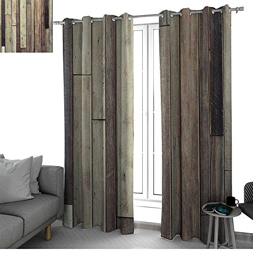 (bybyhome WoodenAntique Old Planks Flooring Wall Picture American Style Western Rustic Panel Graphic Print Small Window Curtain)