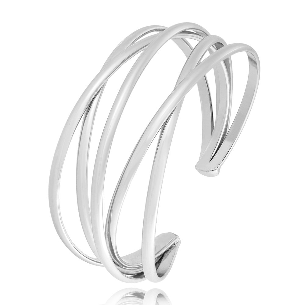 BEICHUANG Multi-layer Ancient Bronze Wire Cross Hollow Out Retro Ethnic Puck Adjustable Bangle Charm Bracelet (Silver1)