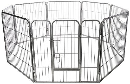 Paws & Pals Pet Exercise Pen Tube Gate w/Door - (8 Panel Playpen) Heavy Duty Folding Metal Out-Door Fence - 24