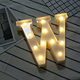 Bigfanshu Home Decor Alphabet LED Letter Lights Light Up White Plastic Letters Standing Hanging N-Z