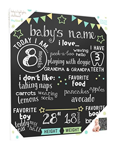 Tiny Ideas Baby's Monthly Milestone Chalkboard, Photo Sharing Prop, Black ()