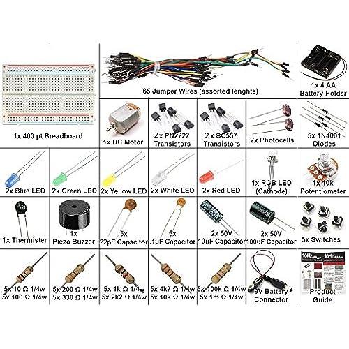 16Hertz Electronics Project Starter Kit W Breadboard Jumper Wires LED Resistors Motor For Arduino Raspberry Pi