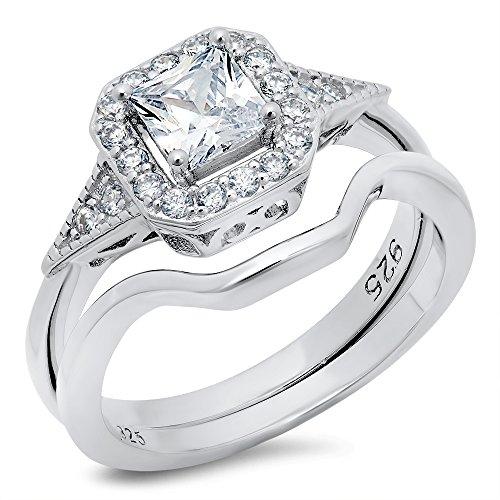 Sterling Silver 925 Princess Cut Cubic Zirconia CZ Halo Engagement Ring Sz 4