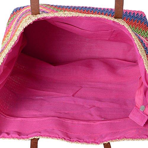 Beach Rainbow 47x37x34x15 Fuchsia Cm Pattern Straw 5 Stripe Tote Colour Bag Size qYHZfHdxn