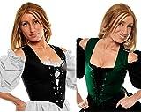 Faire Lady Designs Women's Renaissance Wench Halloween Costume Celtic Irish Peasant Reversible Bodice Corset Top Green/Black (2X: Bust: 50''- 53''/Waist: 44''- 47'')