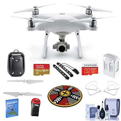 DJI Phantom 4 Advanced Basic Kit - Bundle with Hardshell Backpack, 64/32GB MicroSDXC Card, Spare Battery, Quick-Release Propellers, Propeller Guard, Collapsible Pad, Polar LED Light Bars and More