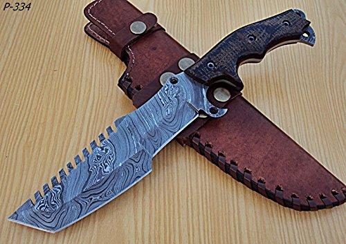 Poshland Knives TR-P-334 Custom Handmade Damascus Steel Tracker Knife- Unique Design
