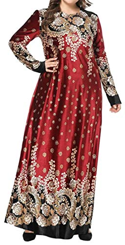 Domple Women's Large Size Long Sleeve Swing Printing Stylish Bronzing Cocktail Party Club Maxi Dress Wine Red S