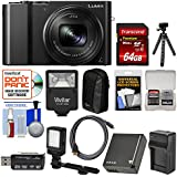 Panasonic Lumix DMC-ZS100 4K Wi-Fi Digital Camera (Black) with 64GB Card + Battery & Charger + Case + Flash + LED Light & Bracket + Flex Tripod Kit