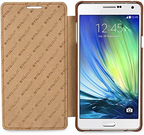 StilGut® Book Type, Genuine Leather Case for Samsung Galaxy A7, Cognac Brown