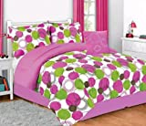 Girls/teen bright pink and green modern circle print comforter set (Twin)