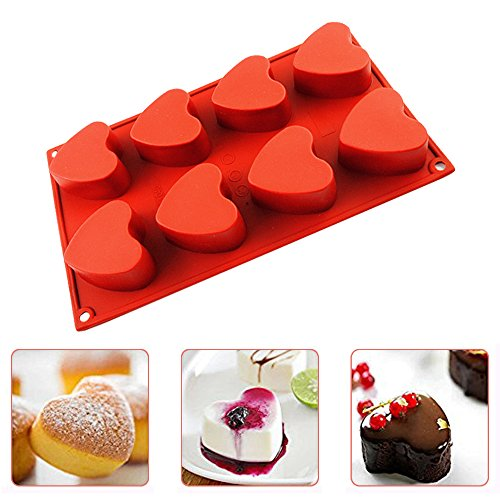 IC ICLOVER Vermilion 100% Food Grade Silicone Bakeware Cake Mold Baking Pan Heart Mold with 8 Cups for Baking Cakes Muffins Valentine Chocolate DIY Soap Mother's Day Gift for Mom