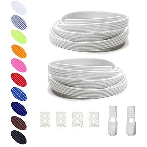 No Tie Shoelaces Elastic expand lacing system Lock clip Shoe laces for Women Kids Men -Slip On Shoelaces Fits Sneakers Running Casual (Expand System)