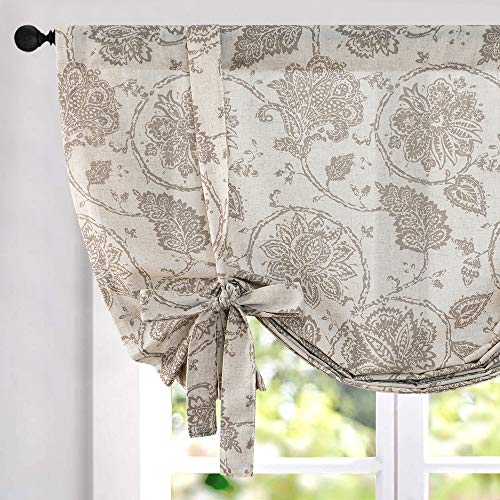 Tie Up Curtains for Windows Linen Textured Adjustable Tie-up Shade for Kitchen Rod Pocket Medallion Design Rustic Jacobean Floral Printed Tie-up Valance (1 Panel 45 Inches Taupe)