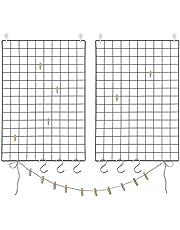 SONGMICS Fotowand van draadgaas, set van 2, wanddecoratie, multifunctionele rasterwand, wandrooster, DIY, met S-haken, klemmen en hennepkoord, zwart LPP02H, 69 x 49 x 35 cm