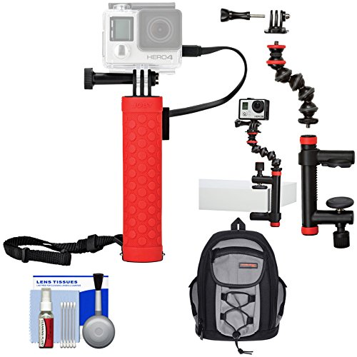 Joby Rechargeable Battery Hand Grip Monopod for Action Cameras & Smartphones with Clamp and GorillaPod Arm + Backpack Kit for GoPro and Action Cameras