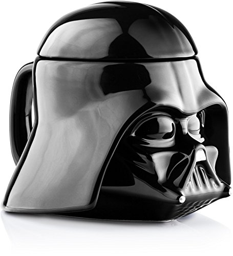 Star Wars Last Jedi Mug - Darth Vader Helmet 3D Ceramic Figural Coffee Mug with Removable Lid - 20 (Darth Vader Mug)