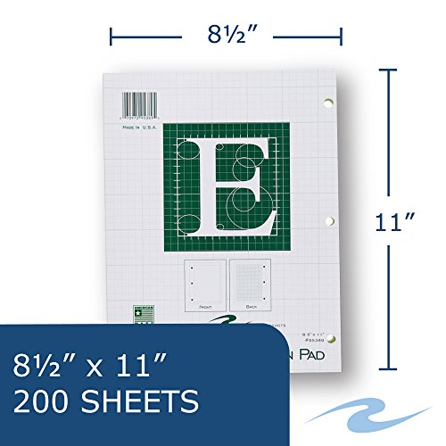 Roaring Spring Engineering Pad, 8.5'' x 11'', Green, 200 sheets by Roaring Spring (Image #1)