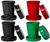 Reusable 12 oz Collapsible Camping / Travel Cups - 1 Red, 1 Green, 2 Black