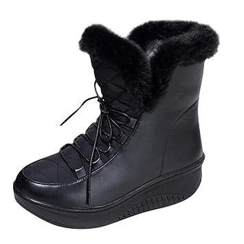 LuckyGirls Botas de Media Caña Botitas Terciopelo Zapatillas Casual Moda Calzado Zapatos para Mujer con Cordones