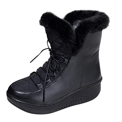 5ecac659a34b Warm Lace-Up Low Heel Women Boots Ankle Ladies Shoes Size 5 Winter Snow  Leisure Casual Flexible Fashion Safety Wide Fit  Amazon.co.uk  Shoes   Bags