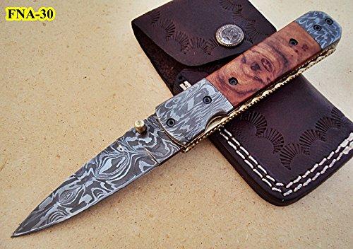 FNA-30 Custom Handmade Damascus Steel Folding Knife- Olive Burl Wood Handle