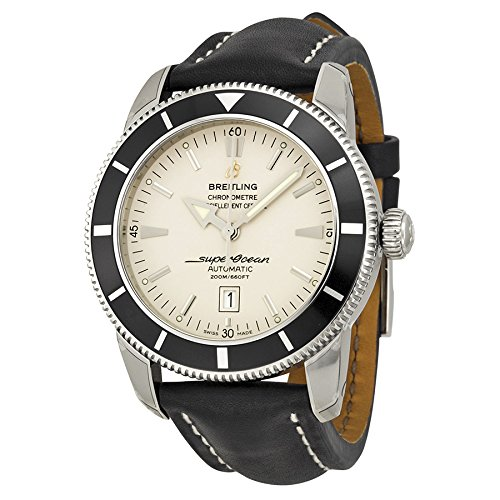 Breitling Superocean Heritage Silver Dial Black Leather Mens Watch A1732024-G642BKLT