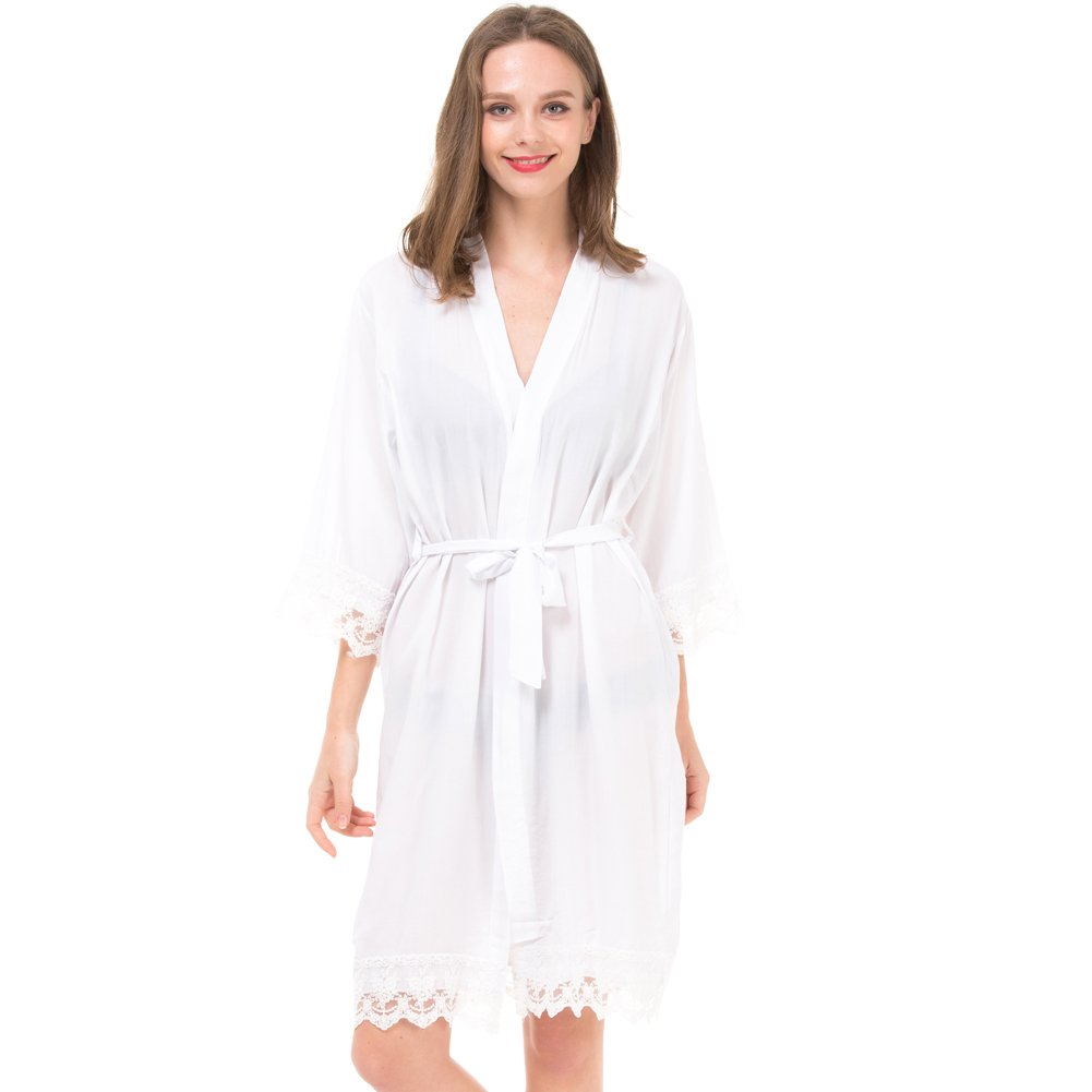 Set of 7 Women's Cotton Robes for Bride and Bridesmaid with Lace Trim by Mr&Mrs Right (Image #3)