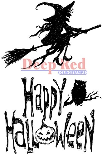 (Deep Red Stamps Halloween Witch Rubber Stamp)