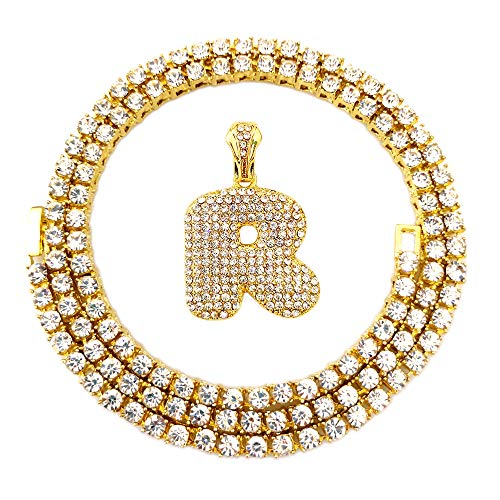 HH Bling Empire Iced Out Hip Hop Gold Faux Diamond Bubble Dripping Letter Tennis Chain Necklace 20 Inch (Bubble Letter R)