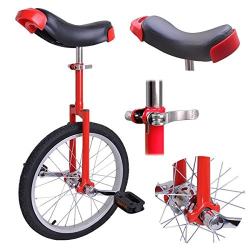 Pro Red 18-inch Wheel Rim Unicycle w/ Comfy Saddle Seat Steel Fork Frame Rubber Tire for Adult Cycling Bike Balance Ride Road Mountain Practice Recreational by Generic (Image #1)