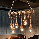 Cheap Homili Vintage Pendant Lamp Retro Bamboo Rope Lamp Pendant Cord Hemp Rope Dining Lighting Fixture Restaurant (6-Light)