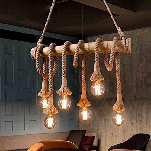 Homili Vintage Pendant Lamp Retro Bamboo Rope Lamp Pendant Cord Hemp Rope Dining Lighting Fixture Restaurant (6-Light)