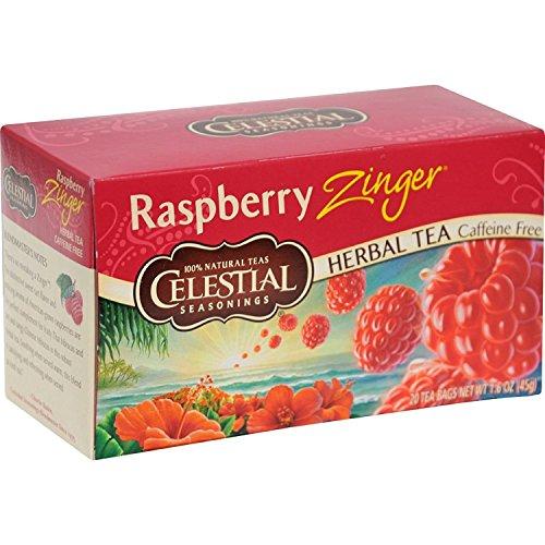 Celestial Seasonings Herbal Tea, Raspberry Zinger, 20 Count (Pack of 3) Celestial Seasonings Raspberry Tea