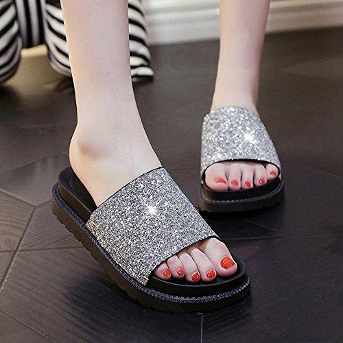 Hausschuhe Pailletten Plattformen LvYuan Mode Strand Sommer Sandalen Damen Silver Komfort Lässige Schuhe HEYSqw