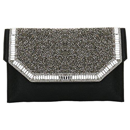 HT Ladies Handbags - Cartera de mano para mujer plata