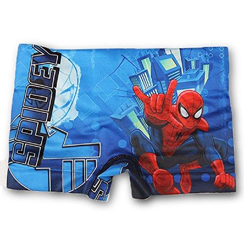 [Disney Boys Spiderman Swimming Shorts 2-3,4-5,6-8 Years] (Blue Spiderman Suit)
