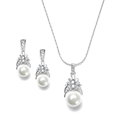 d56aa68d6 Image Unavailable. Image not available for. Color: Mariell Light Cream Pearl  Drop Bridal Necklace & Earrings Set with Vintage CZ - Great Bridesmaids