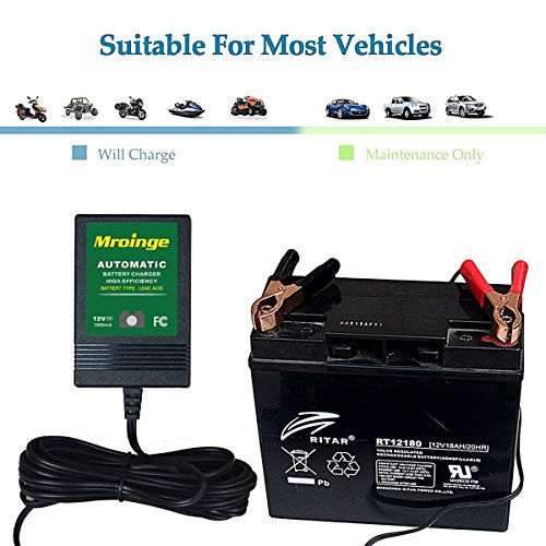 Mroinge automotive trickle battery charger maintainer 12V 1A for car motorcycle Lawn Mower SLA ATV WET AGM GEL CELL Lead Acid Batteries, Smart battery charger is tender charge for protect your battery by Mroinge (Image #3)