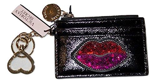 Victorias Secret Id Credit Card Case Keychain Black Sequins Lip Purse With Mirror