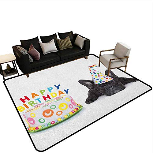 (Conference Room Carpet Kids Birthday,Sleepy French Bulldog Party Cake with Candles Cone Hat Celebration Image, Multicolor)