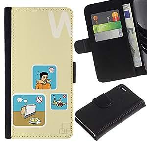 Billetera de Cuero Caso del tirón Titular de la tarjeta Carcasa Funda del zurriago para Apple Iphone 4 / 4S / Business Style Bread Cooking Danger Art