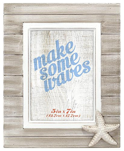 - Malden International Designs Rustic Routed Wooden Starfish Attachment Picture Frame, 5x7, Brown