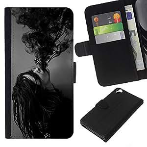 KLONGSHOP // Tirón de la caja Cartera de cuero con ranuras para tarjetas - Tinta Poseído Chica Demonio Negro Blanco - HTC Desire 820 //